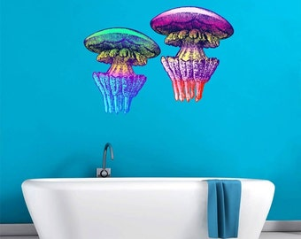 Jellyfish Set of 2 Beautiful Color Wall Decal
