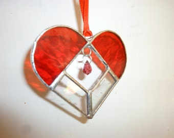 Red heart stained glass suncatcher,Heart Suncatcher.
