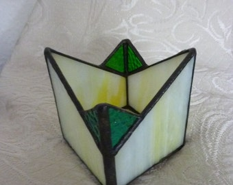 Stained glass box, yellow box, candle holder