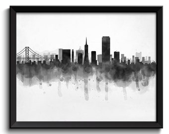 San Francisco Skyline California USA United States Cityscape Art Print Poster Black White Grey Watercolor Painting