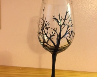 Black tree Wine Glass