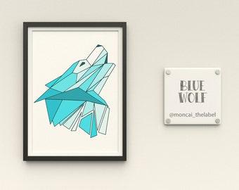 A5 Print Blue Wolf