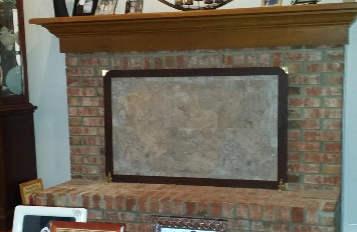 Custom made fireplace cover stone brick free standing - Covering brick fireplace with tile ...