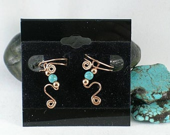 SALE - Turquoise and Copper Spiral Ear Cuffs