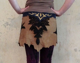 Wrapskirt Leather Suede Skirt Steampunk Festival Belt Tribal Festivals Burning Man Suede Mini Wrap Skirt Belt Goa Trance Elven