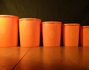70's Tupperware 5 Piece Canister Set