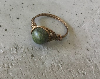 Dark Green Russian Serpentine  wire wrapped ring, natural green stone antique bronze handmade ring, healing stone jewelry