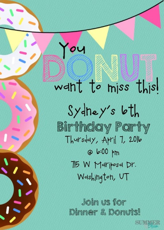 you donut want to miss this party invitation