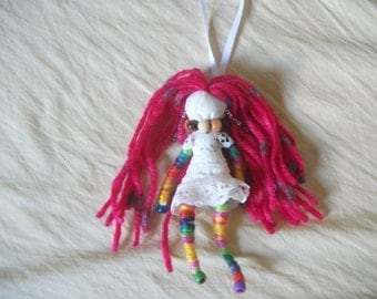 wish granted doll, hanging doll, positive energy doll, yarn doll, handmade OOAK doll