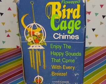 Vintage 1960s Kitch Bird Cage Chimes - Old Store Stock