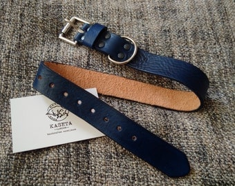 Leather dog collar 'RoyalBlue'