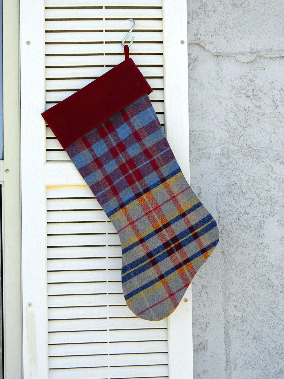 Tartan christmas stocking dark red blue plaid by allasoriginals