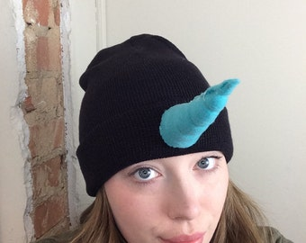 Magical Unicorn Narwhal Horn beanie Black and Turquoise