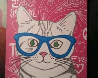 "Handmade ""Hipster Cat"" Greeting Card"
