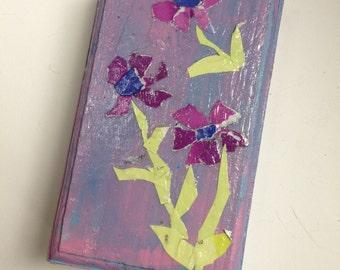 Hand collaged Jewelry mini box, purple flowers