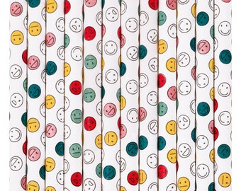 25 straws Smiley Happy Faces - straw paper emoji smiley