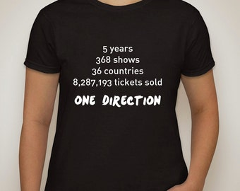 """one direction """"stats"""" t-shirt"""