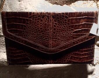 1970's brown leather envelope shoulder bag.