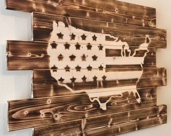 United States USA wood sign charred burnt