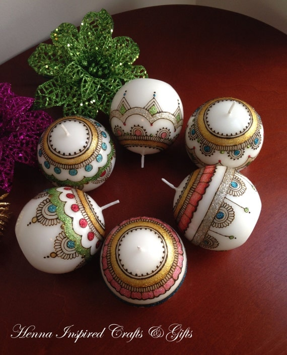 Decorative Mehndi Candles : Set of candles decorative henna by