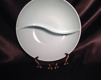 Windsor Melmac,Blue Aqua Windsor Melmac divided bowl made in USA,Melmac Divided Bowl,Baby Blue Melmac,Baby Blue kitchenware,