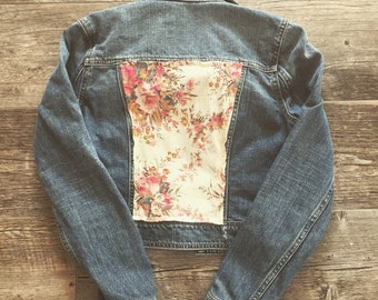 Up-Cycled Jean Jacket: Floral