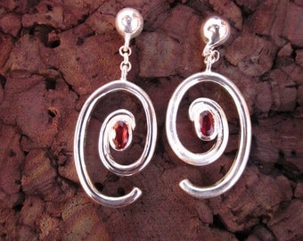 Garnet & Sterling Silver Earrings - #21