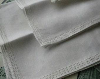 3 Unused Vintage Linen Handkerchiefs- Simple Drawn Threads