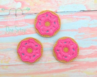 Donut feltie - Donut felt - Donut bow center - Embroidered donut  - Scrap booking Donut - Donutt hair bow - Donut bows