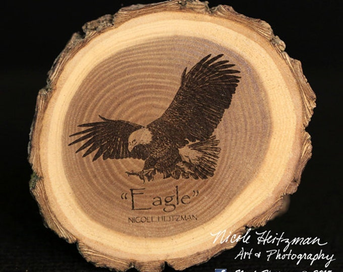 Gift for Dad Eagle Art Eagle Coaster Wildlife Art Lodge decor Cabin Decor Man Cave Decor bird of USA Art Wood Coasters by Nicole Heitzman