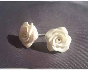 White stud earrings, white rose earrings, white flower earrings, white rose stud earrings, white flower earring studs, gift for her