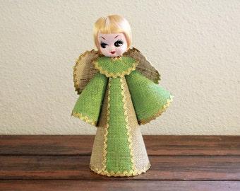 "Vintage Burlap Christmas Angel / Measures: 11"" Tall / Pose Doll"
