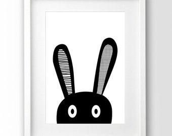 Bunny Selfie Print, Kids Room Decor, Black and White Art, Scandinavian Print, Downloadable Art