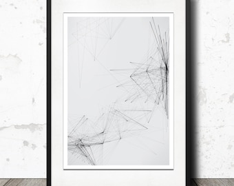 Abstract Geometric Lines - Black Triangles - Pattern Lines Scandinavian Design Wall Art Modern Minimalist Black and White Printable Poster
