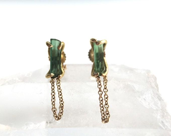 Solid 14 Karat Yellow Gold Raw Green Tourmaline Bar Chained Stud Earrings