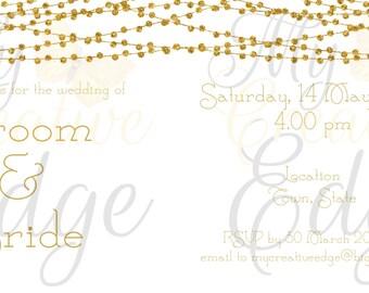 Wedding Invitation Set - Gold Light Strings