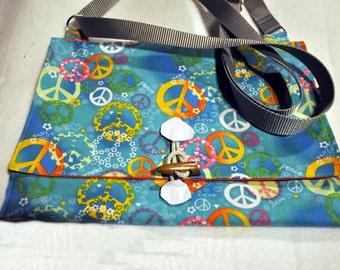 Peace sign hobo bag (blue)
