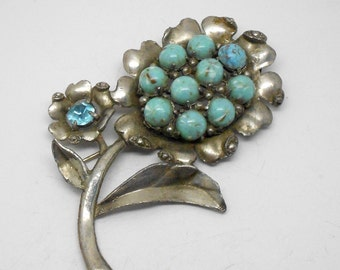 Vintage large faux turquoise silver tone flower brooch