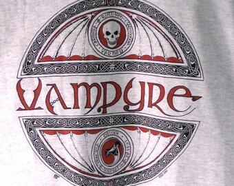 Vampyre T-Shirt, Celtic vampire shirt, light gray t-shirt with black and red Celtic design, original gothic t-shirt celtic design