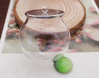 A Set,Round Glass Bottle+Silver Cover---G1032