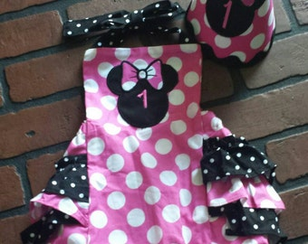 Minnie mouse romper / disney outfit / bubble romper / 1st birthday outfit / baby clothing / smash cake outfit