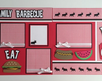 """2 Premade """"Family Barbecue"""" Scrapbook Pages, 12x12 Layout, Paper Piecing, Handmade, Cookout, Picnic"""