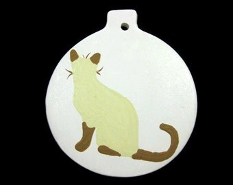 Ceramic Siamese Cat Ornament Hand Painted Made To Order Can Be Personalized , Cat Ornament , Ceramic Ornament , Personalized Ornament
