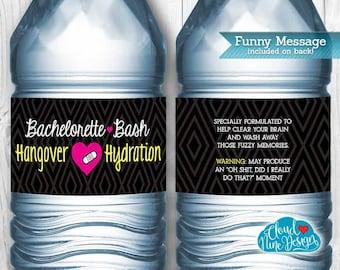 Bachelorette Water Bottle Labels {Instant Download} - Hangover Hydration Printable DIY - Decor for Bride - Bridal Party