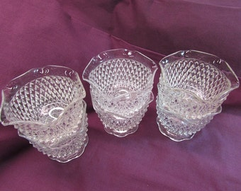 Indiana Glass Diamond Point Set of 6 Sherbets with Scalloped Edge
