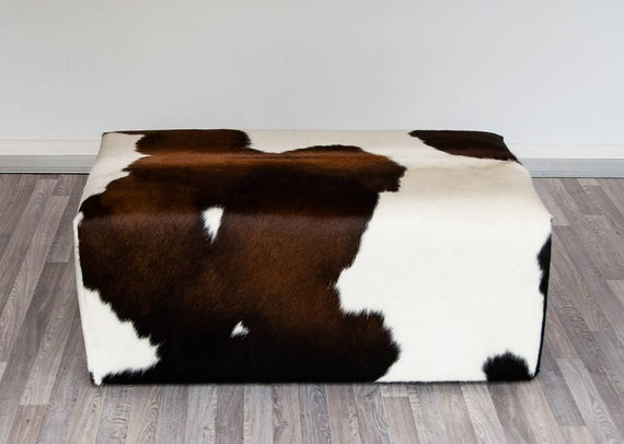 Ottoman Brazilian Cowhide Leather Coffee Table Souffle By Besofia