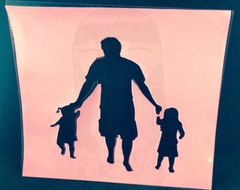 Father And Daughters Stencil