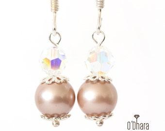Swarovski pearl earrings, sterling silver 925 bridal jewelry, bridesmaid shiny elegant earrings, nickel lead free, handmade wedding jewelry