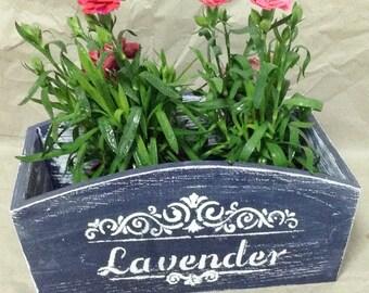 vintage style hand painted wooden planter, flower pot, flower planter, herbs planter, shabby chic planter, lavender