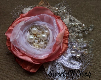 Wedding hair flower Bridal hair flower Wedding hair accessories Bridal hair accessories Wedding    Vintage dusty rose